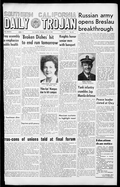 Daily Trojan, Vol. 36, No. 66, February 12, 1945