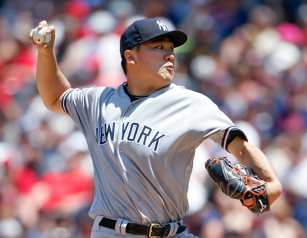 . New York Yankees starting pitcher Masahiro Tanaka delivers against the Cleveland Indians during the second inning of a baseball game, Sunday, July 15, 2018, in Cleveland. (AP Photo/Ron Schwane)