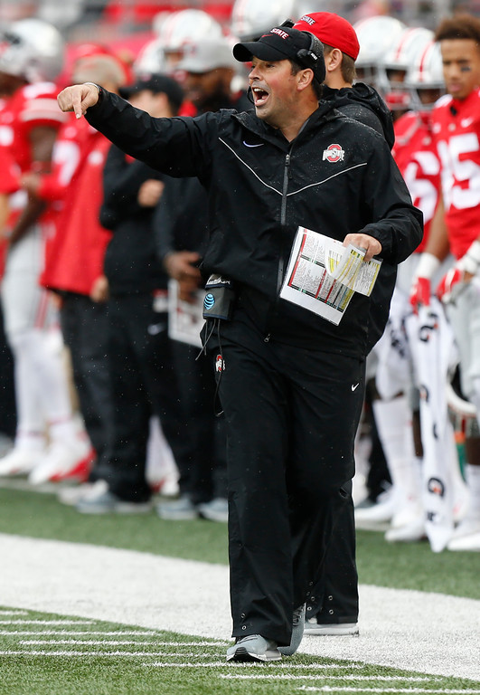 . Ohio State acting head coach Ryan Day shouts to his team against Rutgers during the first half of an NCAA college football game Saturday, Sept. 8, 2018, in Columbus, Ohio. (AP Photo/Jay LaPrete)