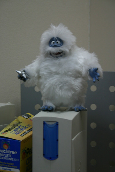 The abominable snowman watches over me every day at work