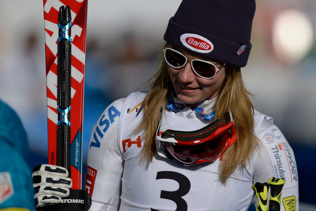 . BEAVER CREEK, CO - FEBRUARY 12: Mikaela Shiffrin of the USA after her run during the ladies\' giant slalom. FIS Alpine World Ski Championships 2015 on Thursday, February 12, 2015. (Photo by AAron Ontiveroz/The Denver Post)