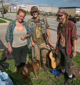 April 17, 2015, Heather, Michael and Yogi Traveling Through Baltimore, Train Travelers, Hobos
