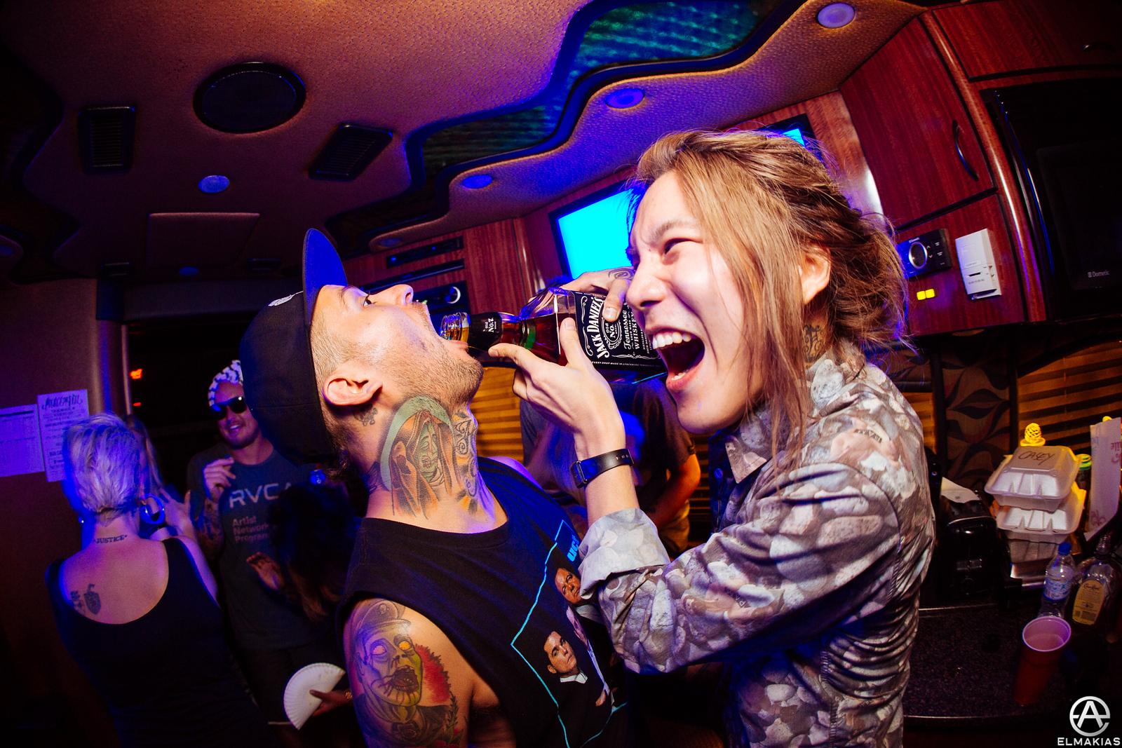 Party bus at Vans Warped Tour by Adam Elmakias