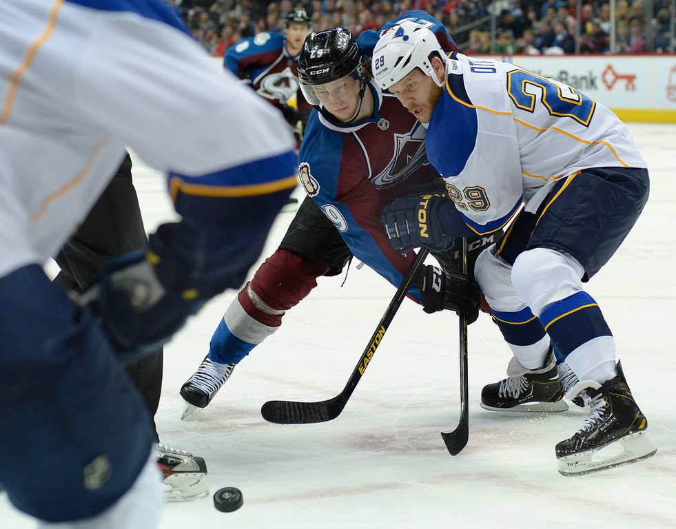 . Colorado center Nathan MacKinnon (29) faced off against St. Louis center Steve Ott (29) in the third period. The St. Louis Blues defeated the Colorado Avalanche 2-1 at the Pepsi Center Saturday afternoon, March 8, 2014 in Denver, Colorado. (Photo by Karl Gehring/The Denver Post)