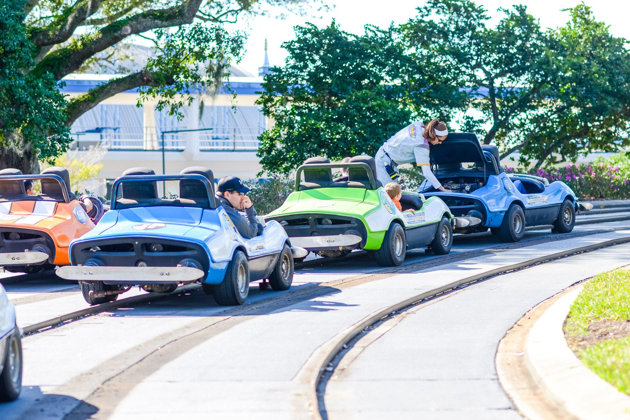 Tomorrowland Speedway Repairs - Walt Disney World Magic Kingdom