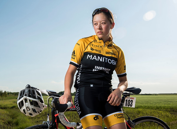 DAVID LIPNOWSKI / WINNIPEG FREE PRESS  Rebecca Man is a local cyclist competing in the Canada Games this summer in Winnipeg. She poses for a photo prior to the Grand Pointe Road Race in Grand Pointe, Manitoba Wednesday July 5, 2017.