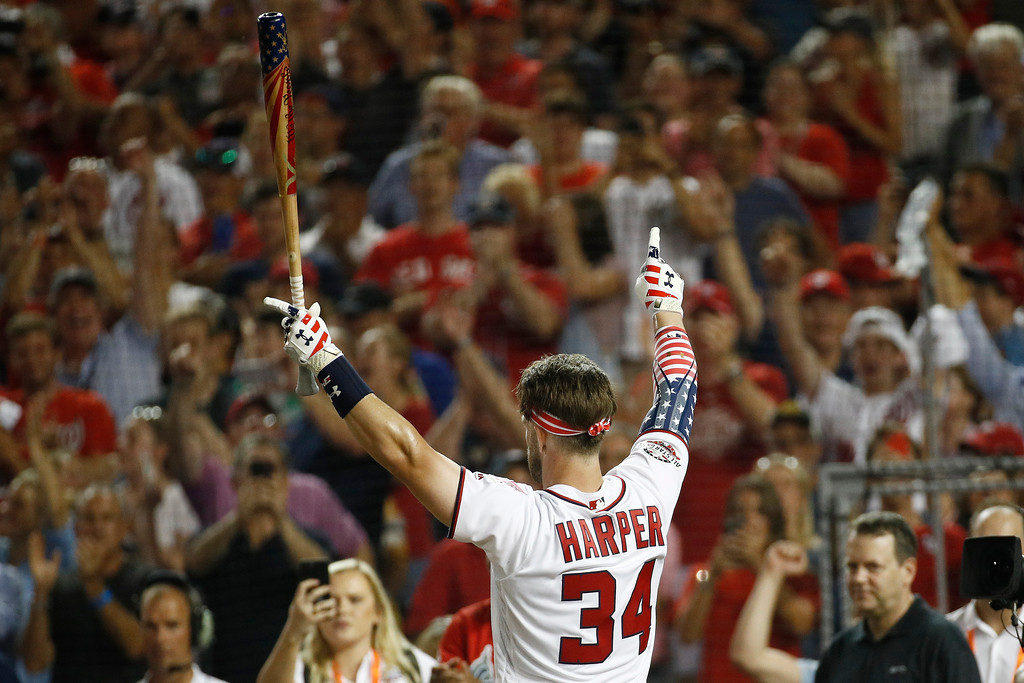 . Washington Nationals Bryce Harper (34) reacts after his turn at bat during the MLB Home Run Derby, at Nationals Park, Monday, July 16, 2018 in Washington. The 89th MLB baseball All-Star Game will be played Tuesday. (AP Photo/Patrick Semansky)