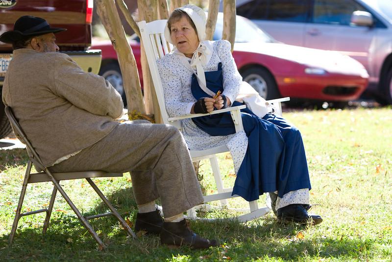 "Phyllis Jacobs of mint hill speaks with Leonard ""Deacon"" Jones"