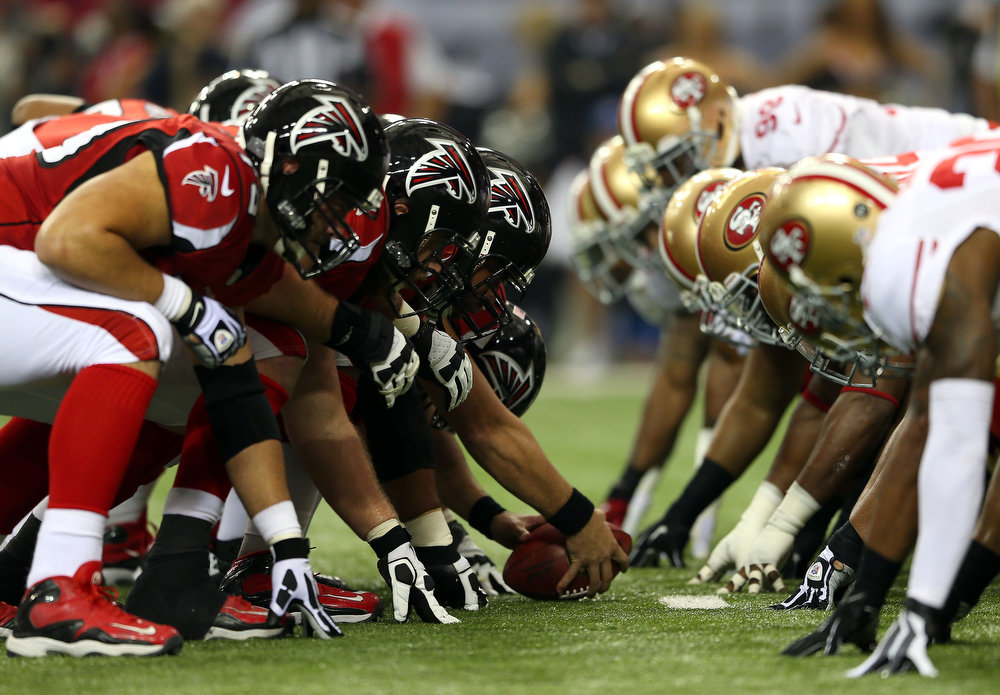 Description of . The Atlanta Falcons prepare to snap the ball against the San Francisco 49ers in the NFC Championship game at the Georgia Dome on January 20, 2013 in Atlanta, Georgia.  (Photo by Mike Ehrmann/Getty Images)