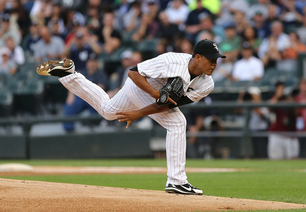 . Chicago White Sox starter Jose Quintana pitches to the New York Yankees in the first inning in a baseball game at US Cellular Field in Chicago on Monday, Aug.5, 2013. (AP Photo/Charles Cherney)