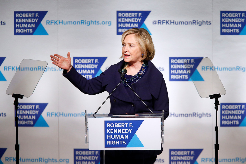 . Former Secretary of State Hillary Rodham Clinton speaks after accepting the Robert F. Kennedy Ripple of Hope Award during a ceremony, Tuesday, Dec. 16, 2014 in New York. (AP Photo/Jason DeCrow)