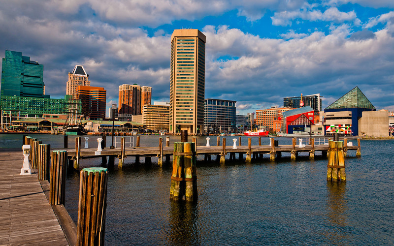 Afternoon view of the Baltimore skyline from a dock in the Inner Harbor.