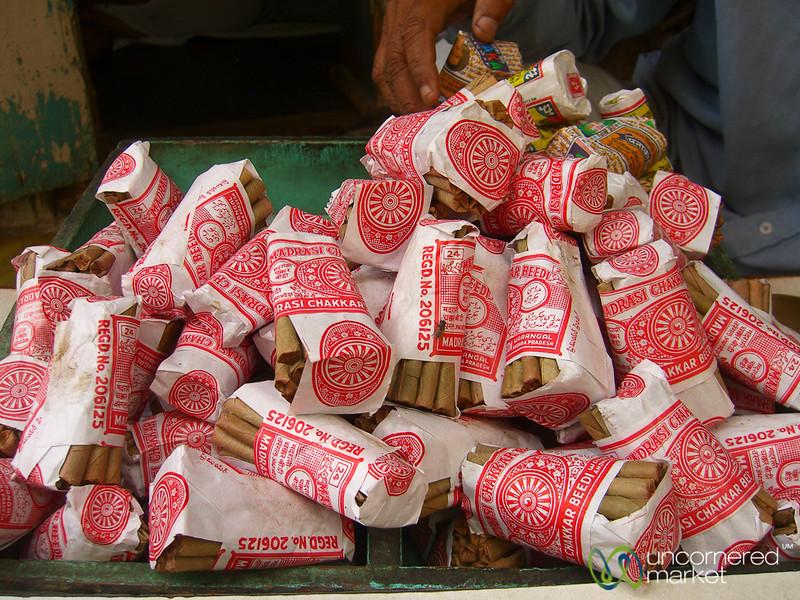Stacks of Beedis at the Market of Udaipur, India