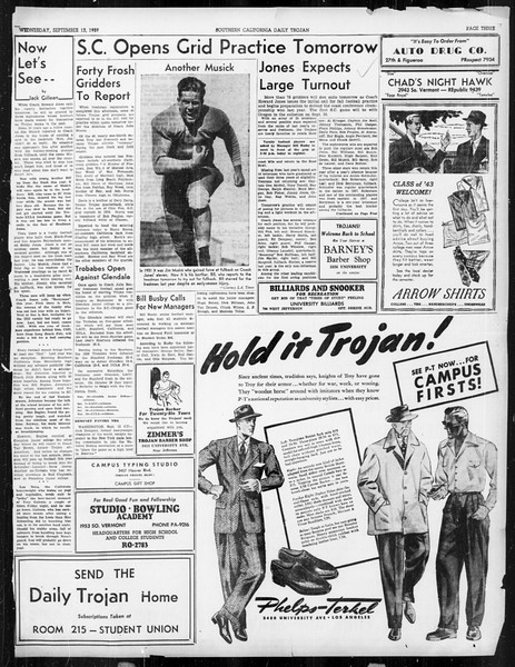 Daily Trojan, Vol. 31, No. 1, September 13, 1939