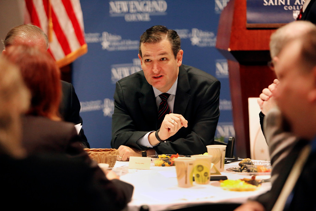 . Ted Cruz, R-Texas speaks with area business leaders during a Politics and Eggs breakfast, Monday, March 16, 2015, in Manchester, N.H. (AP Photo/Jim Cole)