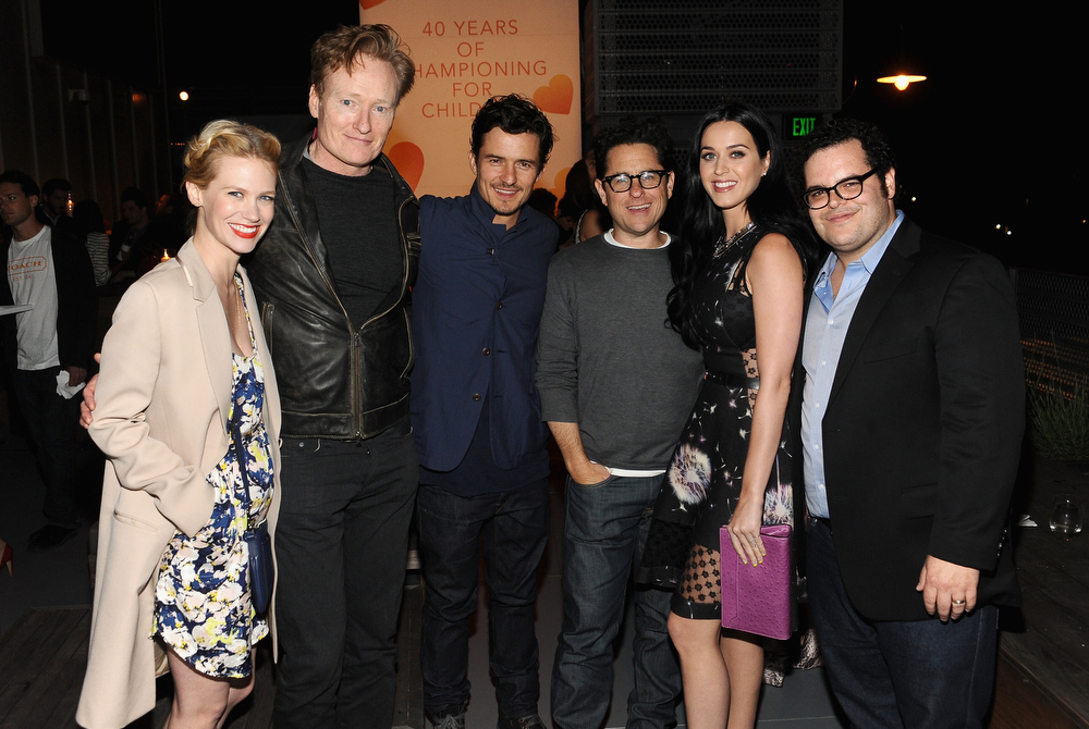 . Actress January Jones, TV personality Conan O\'Brien, actor Orlando Bloom, host J.J. Abrams, singer Katy Perry and actor Josh Gad attend Coach\'s 3rd Annual Evening of Cocktails and Shopping to Benefit the Children\'s Defense Fund hosted by Katie McGrath, J.J. Abrams and Bryan Burk at Bad Robot on April 10, 2013 in Santa Monica, California.  (Photo by Stefanie Keenan/Getty Images for Coach)