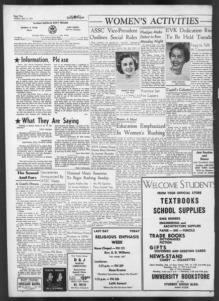 Daily Trojan, Vol. 42, No. 83, March 02, 1951