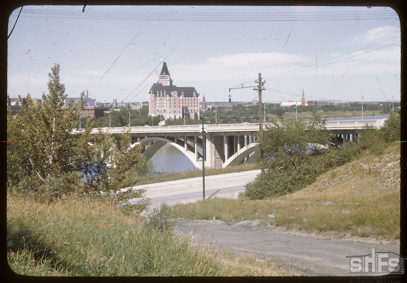Bessborough Hotel from across Broadway Street Bridge. Saskatoon 08/12/1946