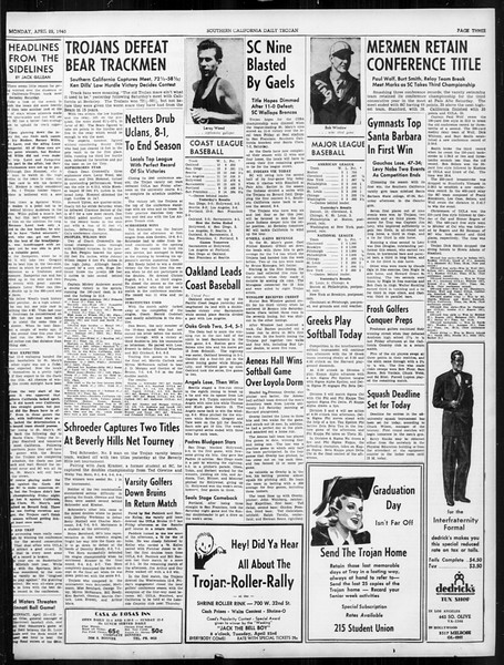 Daily Trojan, Vol. 31, No. 129A, April 22, 1940