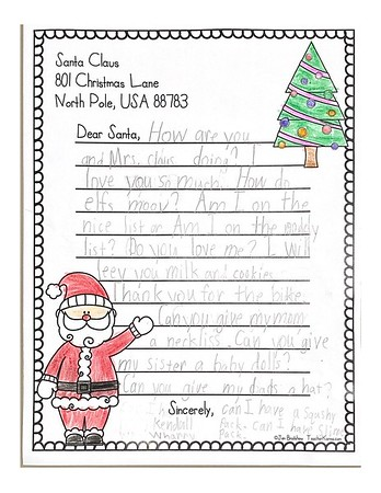 Mrs. Perez' First Grade Letters to Santa