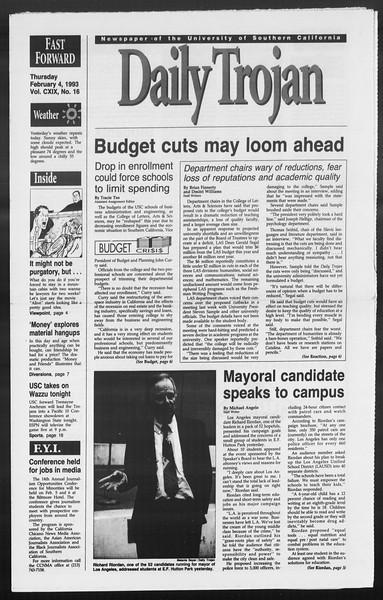 Daily Trojan, Vol. 119, No. 16, February 04, 1993