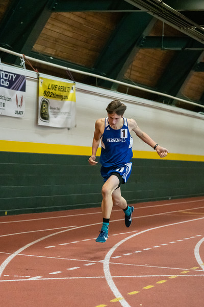 Junior Ben Huston crossing the finish line as a state champion in the 1000. Ben finished with a time of 2:46.16. Vermont Division II Indoor Track State Championships - UVM Gutterson Field House - 2/16/2020