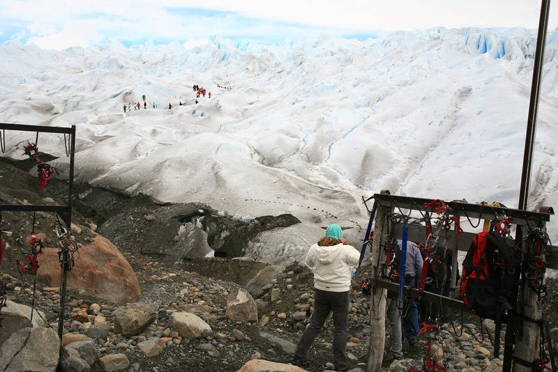 This is the staging area where you step off the ground and onto the glacier.