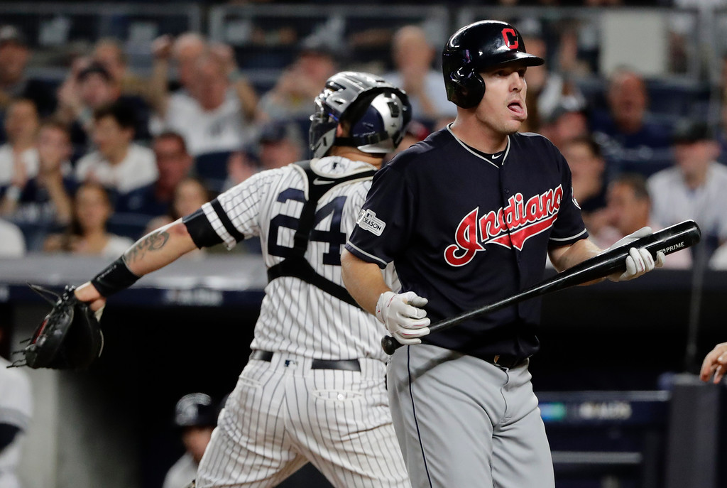 . Cleveland Indians\' Jay Bruce reacts after striking out against the New York Yankees during the second inning in Game 3 of baseball\'s American League Division Series, Sunday, Oct. 8, 2017, in New York. (AP Photo/Frank Franklin II)