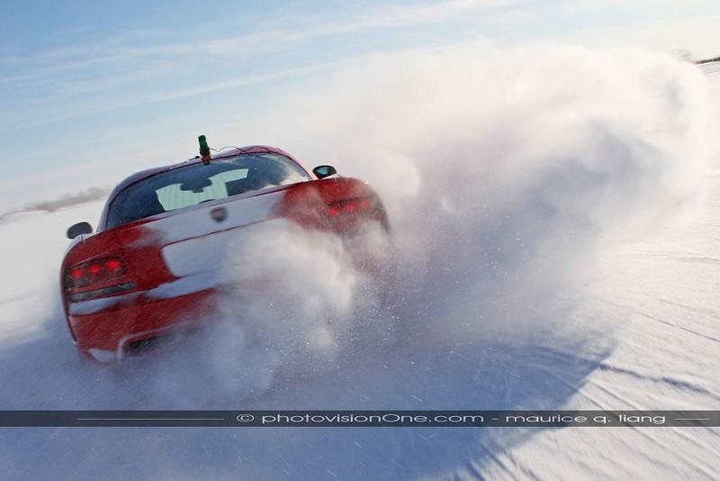 Viper drifting through the snow.