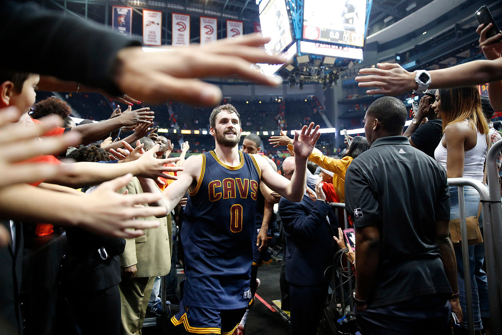 . Cleveland Cavaliers forward Kevin Love (0) walks off the court after the second half of Game 3 of the second-round NBA basketball playoff series against the Atlanta Hawks, Friday, May 6, 2016, in Atlanta. Cleveland won 121-108 and leads the best-of-seven series 3-0. (AP Photo/John Bazemore)
