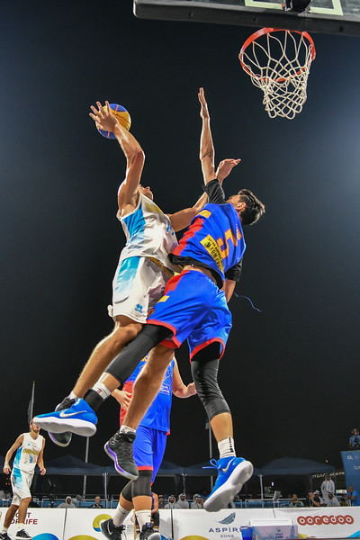 Ukraine and Mongolia in action in the Bronze medal game of the International 3x3 Basketball Tournament during the 1st ANOC World Beach Games at Katara on October 16, 2019 in Doha, Qatar. Photo by Tom Kirkwood/SportDXB