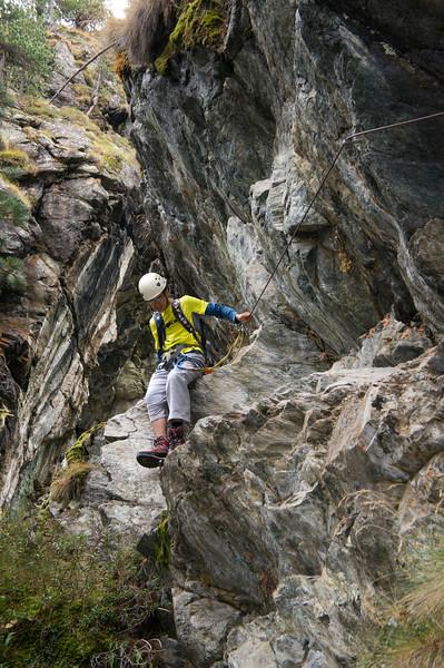 Adil making his way down the gorge in Zermatt