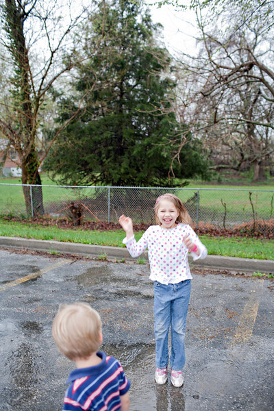 Kirsten loved puddle jumping..Daniel did NOT.