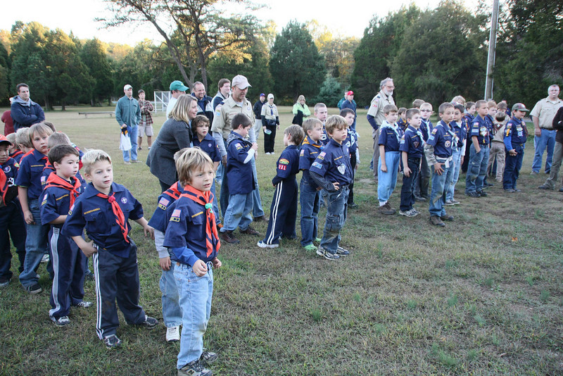 All cub scouts lining up