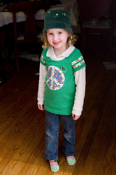 Beverly's St. Patrick's Day outfit - 1 sticker for every green thing she's wearing (picture doesn't show the green underpants!)