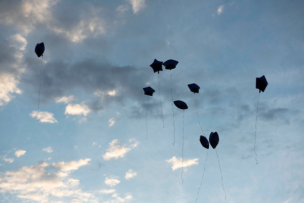 Close friends and family release purple balloons during a vigil type event on the one year anniversary of Thelma Krull's disappearance at Civic Park Monday July 11, 2016. (David Lipnowski for Metro News)