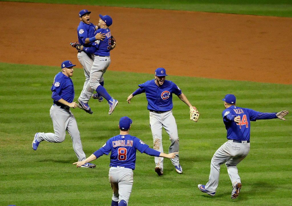 . The Chicago Cubs celebrate after Game 7 of the Major League Baseball World Series against the Cleveland Indians Thursday, Nov. 3, 2016, in Cleveland. The Cubs won 8-7 in 10 innings to win the series 4-3.(AP Photo/Gene J. Puskar)