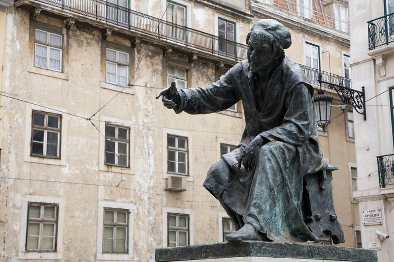 Statue of Antonio Ribeiro, called O Chiado, a satirical poet who lived in the 16th century, Lisbon
