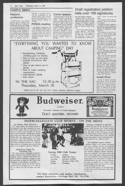 Daily Trojan, Vol. 88, No. 31, March 19, 1980