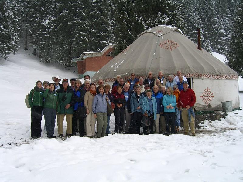Princeton group outside yurt - Kaitlin Lutz
