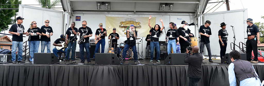 . Rock For Vets band performs during Jose Ramos\' annual Welcome Home Vietnam Veterans Day at California High School in Whittier Saturday, April 13, 2013. Rock For Vets is a music therapy program out of the Long Beach VA. (SGVN/Staff Photo by Sarah Reingewirtz)