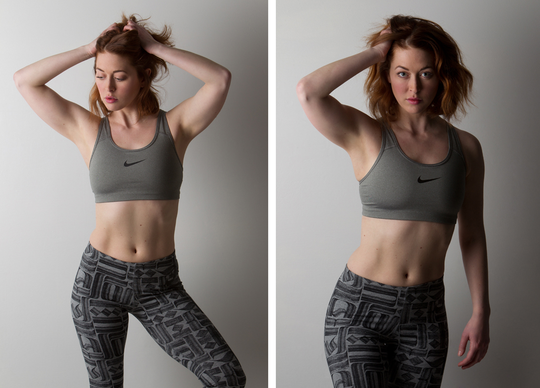 two studio fitness photos of female model
