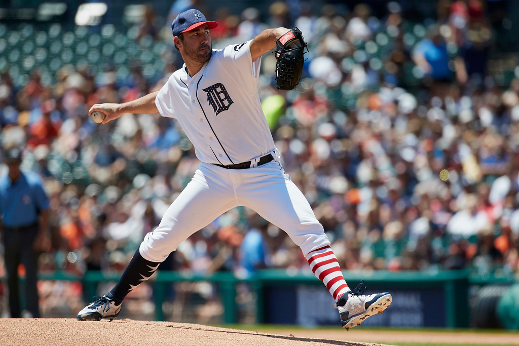 . Detroit Tigers starting pitcher Justin Verlander (35) pitches against the Cleveland Indians in the first inning of a baseball game in Detroit, Sunday, July 2, 2017. (AP Photo/Rick Osentoski)