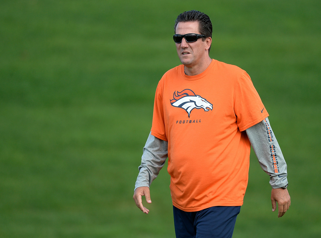 . Denver Broncos quarterback coach Greg Knapp prepares for drills on day 12 of the Denver Broncos 2014 training camp August 5, 2014 at Dove Valley. (Photo by John Leyba/The Denver Post)