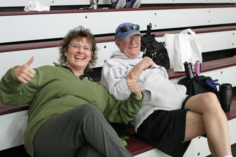 The Hopper's .. Cecilia and Bill watching some action on the glass court..