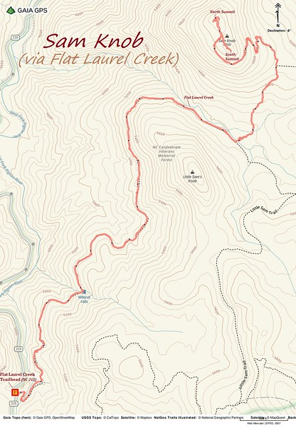 Sam Knob via Flat Laurel Creek Trail Route Map