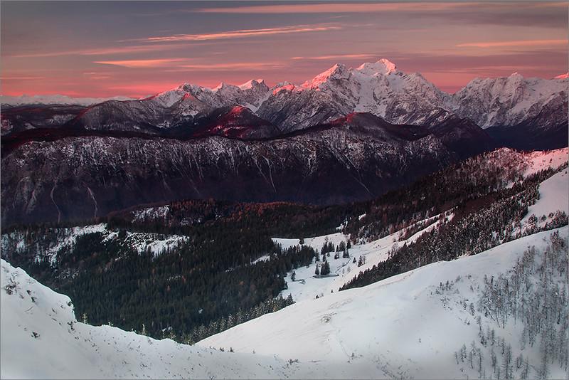 View from Klek towards Julian Alps