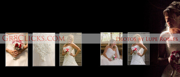 Two page spread example with bridal photos