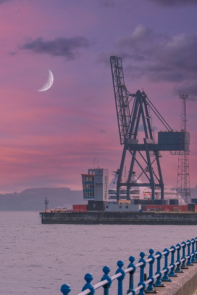 The Large Cranes Ocean Terminal Greenock Early in the Morning