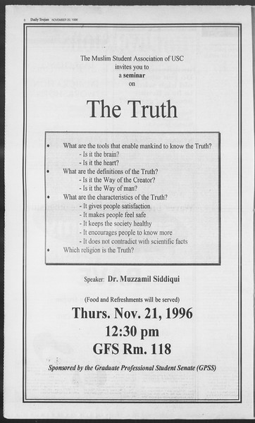 Daily Trojan, Vol. 129, No. 58, November 20, 1996